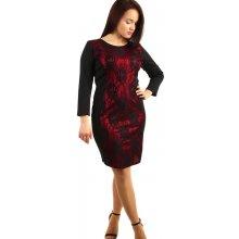 2782be43cd3b YooY společenské šaty s krajkou pro plnoštíhlé červená