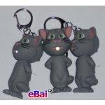 Přívěsek na klíče Blikací vydávající zvuk zvířátko kočka šedá