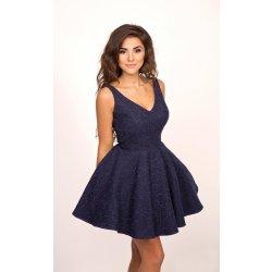 Společenské dámské šaty na ramínka s kolovou sukní tmavě modrá od 2 ... 2bd0f0f3521