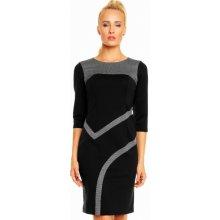 Dámské luxusní společenské a casual šaty zdobené pepitovým vzorem černá 121ff82eae