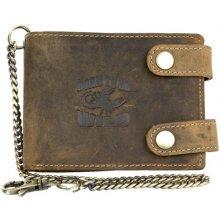 Born to be wild kožená peněženka se škorpionem, se dvěma upínkami a 30 cm dlouhým kovovým řetězem a karabinkou