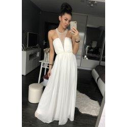 a76c1e5ea22 Eva   Lola dámské společenské šaty s perličkami v dekoltu dlouhé bílá