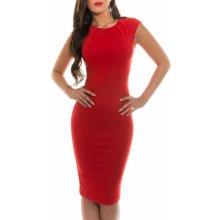 KouCla dámské pouzdrové šaty s krátkými rukávy červená 73c59b94f7