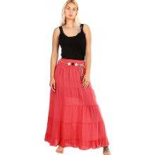 a28a03b43ee YooY dlouhá sukně s ozdobným páskem červená