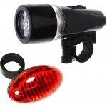 TFY 0152 Set LED světel na kolo - přední + zadní světlo, černé