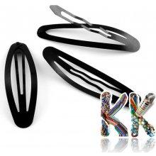 Železná lakovaná spona do vlasů - typ cvakací - 67 x 20 mm - Černá 4be4c39367