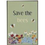 IB LAURSEN Plechová cedule Save the Bees, modrá barva, zelená barva, žlutá barva, černá barva, kov