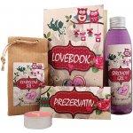 Bohemia Lovebook sprchový gel 200 ml + koupelová sůl 150 g + prezervativ 1 kus + svíčka 1 kus dárková sada