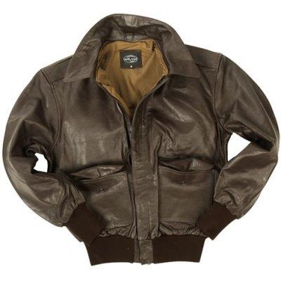 Mil-Tec bunda kožená US A2 s límcem hnědá