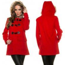 KouCla kabát s olivkami červený