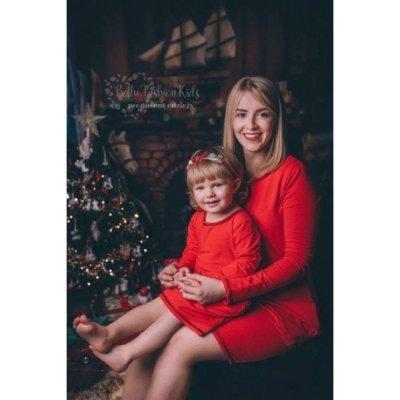 Vánoční šaty máma a dcera máma BE39red červená
