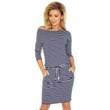 733184ce422ad Numoco dámské sportovní šaty s bílými proužky na stahování v pase tmavě  modrá