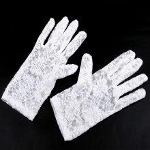 V&V Společenské rukavice 21 cm krajkové - bílá barva
