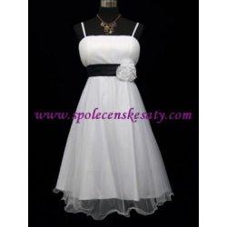 e2d9bc09d56 Bílé krátké společenské šaty koktejlky na svatbu svatební s černou mašlí dámské  svatební šaty