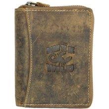 Born to be wild kožená peněženka se škorpionem dokola na kovový zip