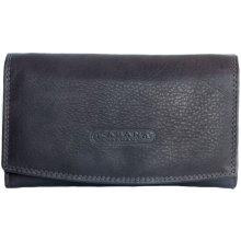 tmavě kožená peněženka orientovaná jako oboustranná hnědá