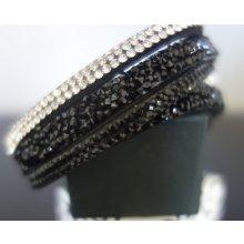 Shine bižuterní textilní náramek s krystalky černobílý TN017