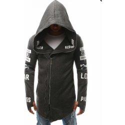 Asymetrická pánská mikina assassin s kapucí šedá alternativy ... 2a5306435bd