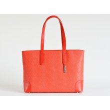 258af94cab Bright elegantní kabelka kožená vzorovaná na dokumenty červená