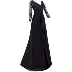 dlouhé Společenské šaty s krajkovým 3 4 rukávem a širokou sukní Černé 98c7f40e9b