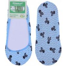 Bambusové ponožky do balerín s lebkou - modrá