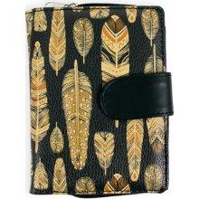 Albi Designová peněženka Černá se zlatými peříčky
