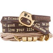 We Positive Tmavě hnědý wrap náramek Nice Glamour NI519 Dark brown