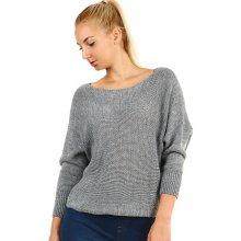 Glara Dámský krátký pletený svetr s netopýřími rukávy šedá b6eba4b2d3