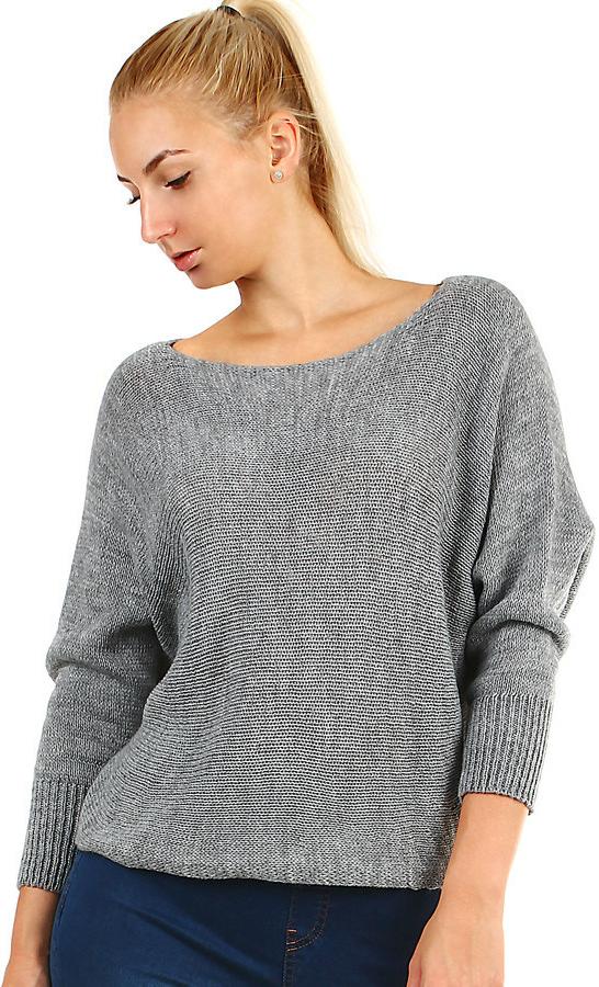Glara Dámský krátký pletený svetr s netopýřími rukávy šedá od 611 Kč -  Heureka.cz b84176b0ee