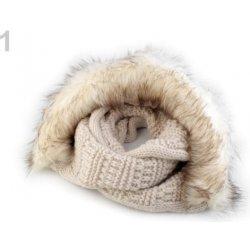 Pletený nákrčník s kapucí a kožešinou béžovobílá 1ks alternativy ... 63c4fbc8b6