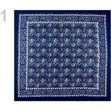 Bavlněný šátek 70x70 cm kašmírový vzor modrá berlínská 1ks 6ae7f33925