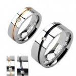 03b3dc78f Ocelové snubní prsteny stříbrný zlatý pruh černý pruh se zirkonem D13.9/D13.