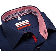 Marvelis Modern Fit – tmavomodrá košile s červeno-modrým vnitřním límcem 8cb4d4eed6