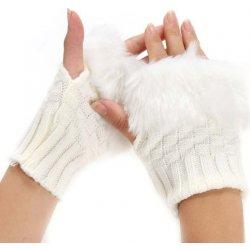 Pletené rukavice bez prstů s kožíškem bílé F548 od 149 Kč - Heureka.cz 947949a07b