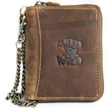 Born to be wild Kožená peněženka se žralokem dokola na kovový zip s řetězem a karabinkou