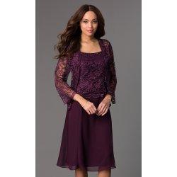 97432d736c8 Krátké společenské šaty s krajkovým kabátkem fialová alternativy ...