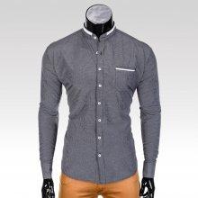 Ombre Clothing Prince pánská košile bez límečku černá
