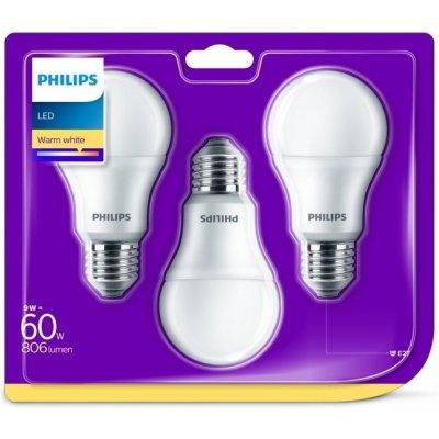 Philips klasik, 9W, E27, teplá bílá 3ks
