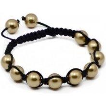 Náramek Shamballa s jasně zlaté perly Swarovski Elements BMB10.22