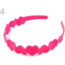 Stoklasa Plastová čelenka se srdíčky - 4 růžová neon