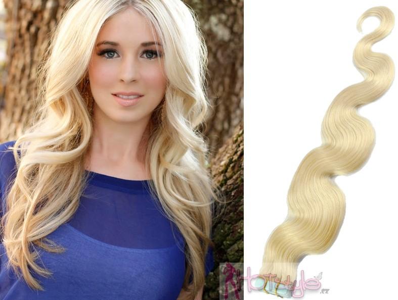 HOTstyle 60cm Tape hair   pu extension   Tape IN lidské vlasy remy vlnité –  platina od 3 699 Kč - Heureka.cz f0d2f3fade1