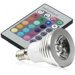 RGB LED E14 3W color + dálk.ovl. set 3 ks