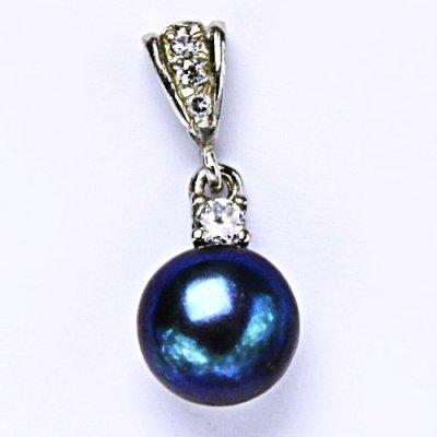 Čištín Stříbrný přívěšek, přírodní říční perla,černá 9-10 mm P 1287/2