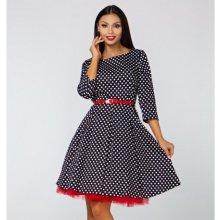 Gotta retro šaty Erica s 3 4 rukávem a puntíky GS17 černo bílá ec1d5663db