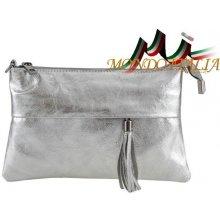 cbc83e06d9 Made In Italy kožená kabelka 1423A stříbrná