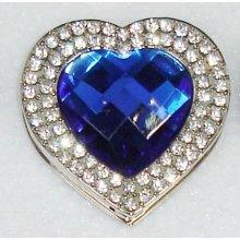 Háček na kabelku Luxury modré srdce