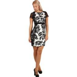 Společenské šaty s květinovým potiskem a krajkou 260897 černá ... ffbb67fdaad