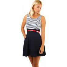 67d0150697956 YooY áčkové proužkované šaty s páskem 239866 modrá