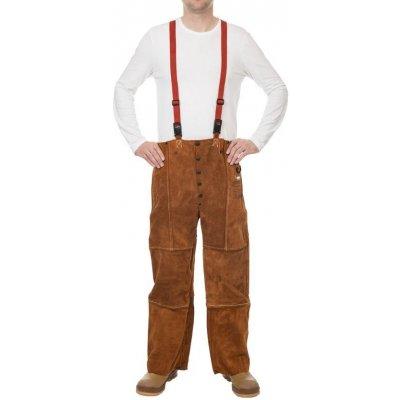 Weldas kožené svářečské kalhoty s náprsenkou Lava Brown