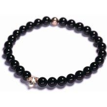Lavaliere dámský korálkový náramek černý lesklý achát Swarovski hvězda 03701